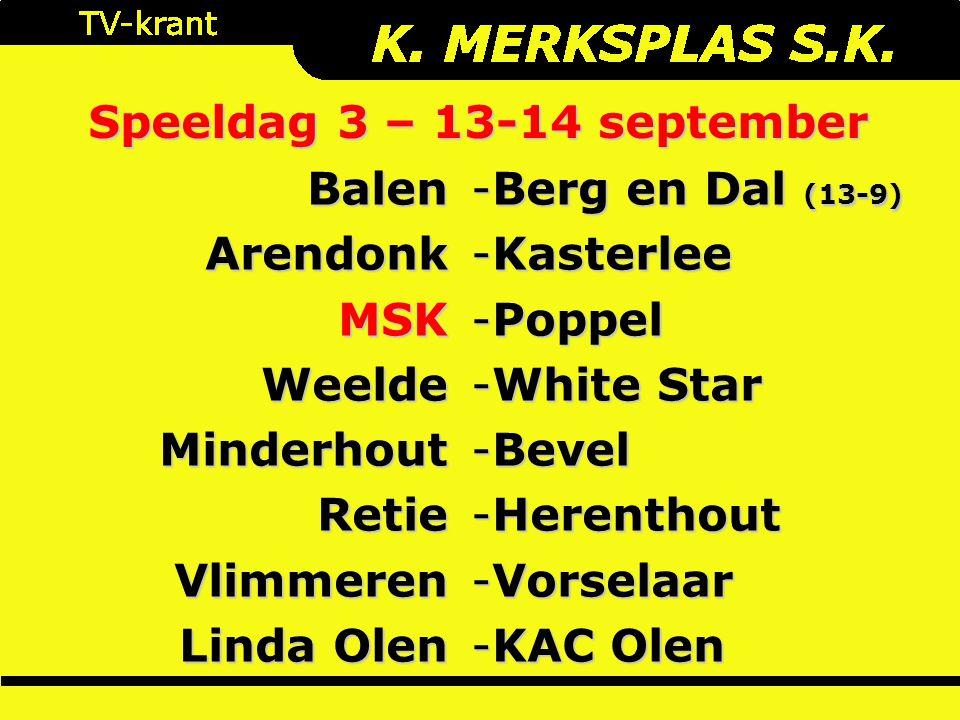 Speeldag 3 – 13-14 september BalenArendonkMSKWeeldeMinderhoutRetieVlimmeren Linda Olen -Berg en Dal (13-9) -Kasterlee -Poppel -White Star -Bevel -Herenthout -Vorselaar -KAC Olen