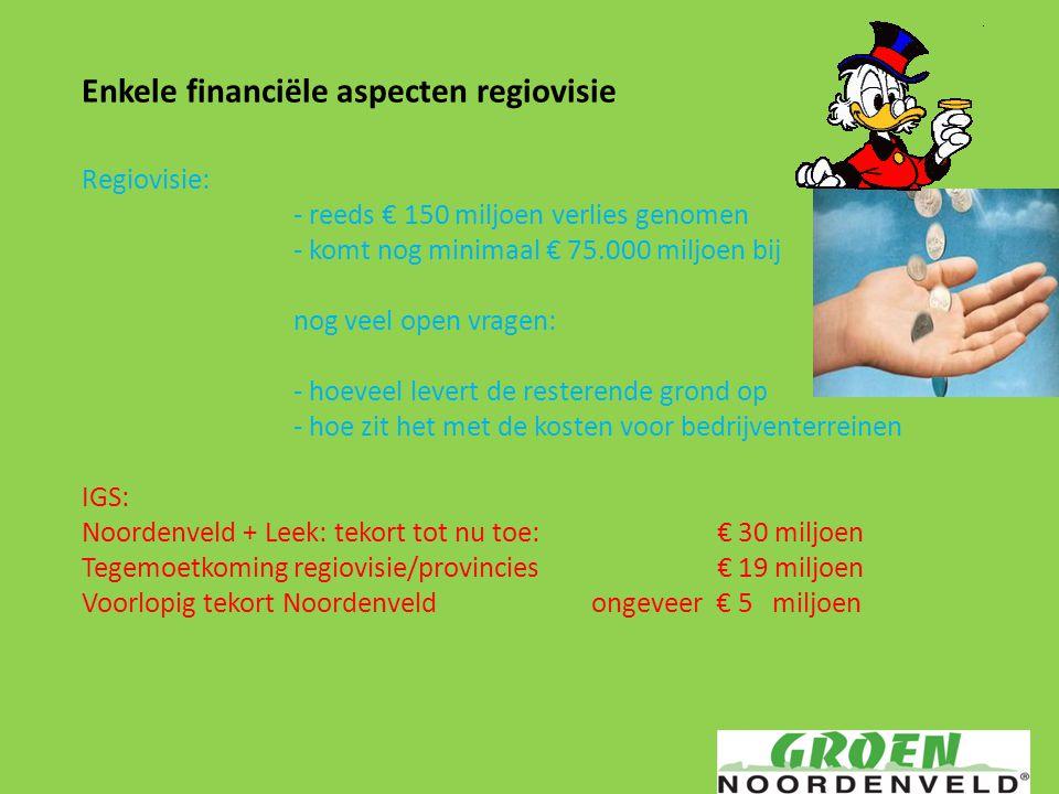 Enkele financiële aspecten regiovisie Regiovisie: - reeds € 150 miljoen verlies genomen - komt nog minimaal € 75.000 miljoen bij nog veel open vragen:
