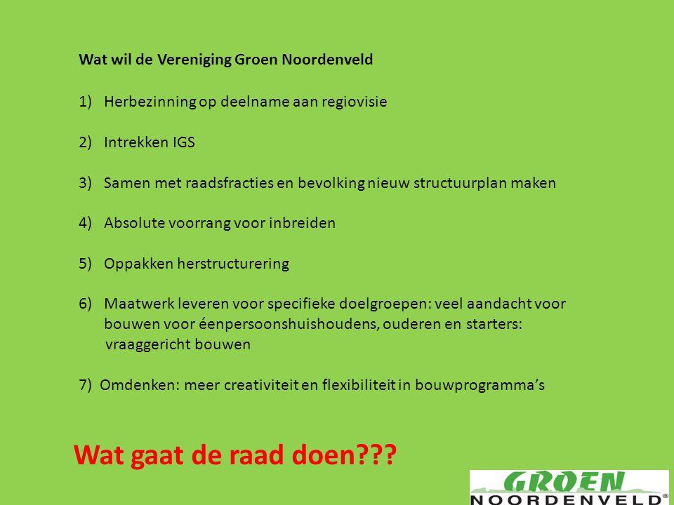 Wat wil de Vereniging Groen Noordenveld 1)Herbezinning op deelname aan regiovisie 2)Intrekken IGS 3)Samen met raadsfracties en bevolking nieuw structu