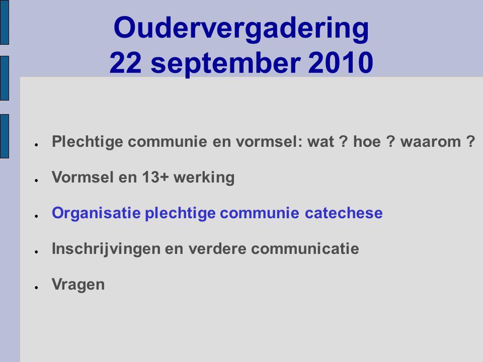 Oudervergadering 22 september 2010 ● Plechtige communie en vormsel: wat ? hoe ? waarom ? ● Vormsel en 13+ werking ● Organisatie plechtige communie cat