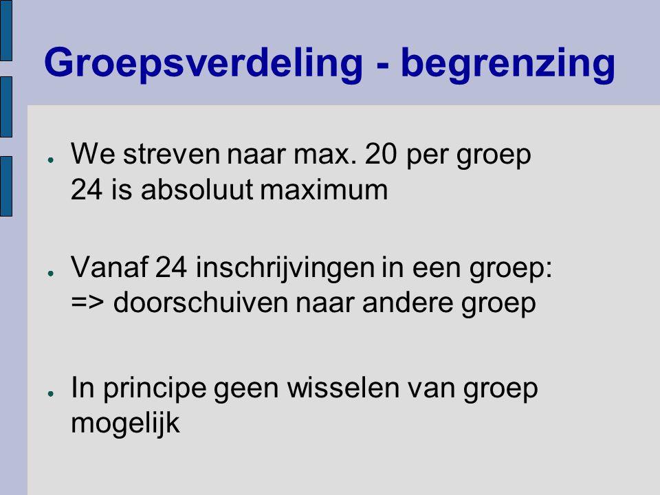 Groepsverdeling - begrenzing ● We streven naar max. 20 per groep 24 is absoluut maximum ● Vanaf 24 inschrijvingen in een groep: => doorschuiven naar a