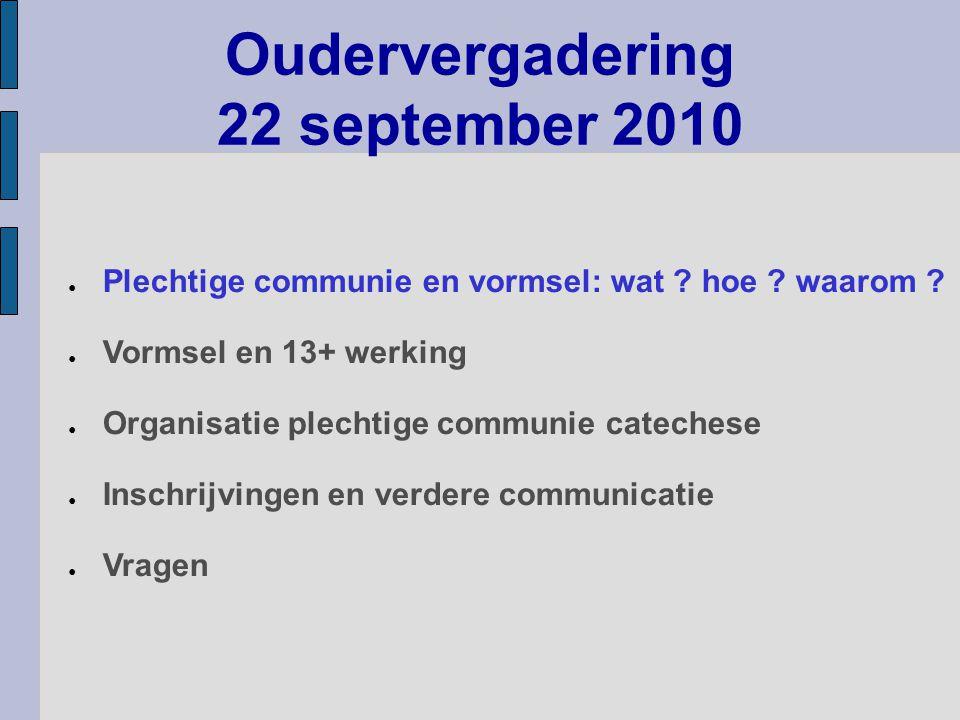 Oudervergadering 22 september 2010 ● Organisatie plechtige communie catechese ● Inschrijvingen en verdere communicatie ● Plechtige communie en vormsel: wat .