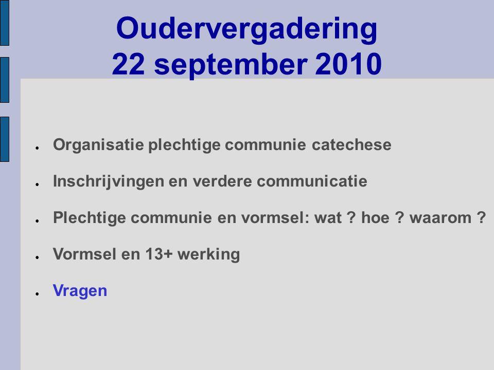 Oudervergadering 22 september 2010 ● Organisatie plechtige communie catechese ● Inschrijvingen en verdere communicatie ● Plechtige communie en vormsel