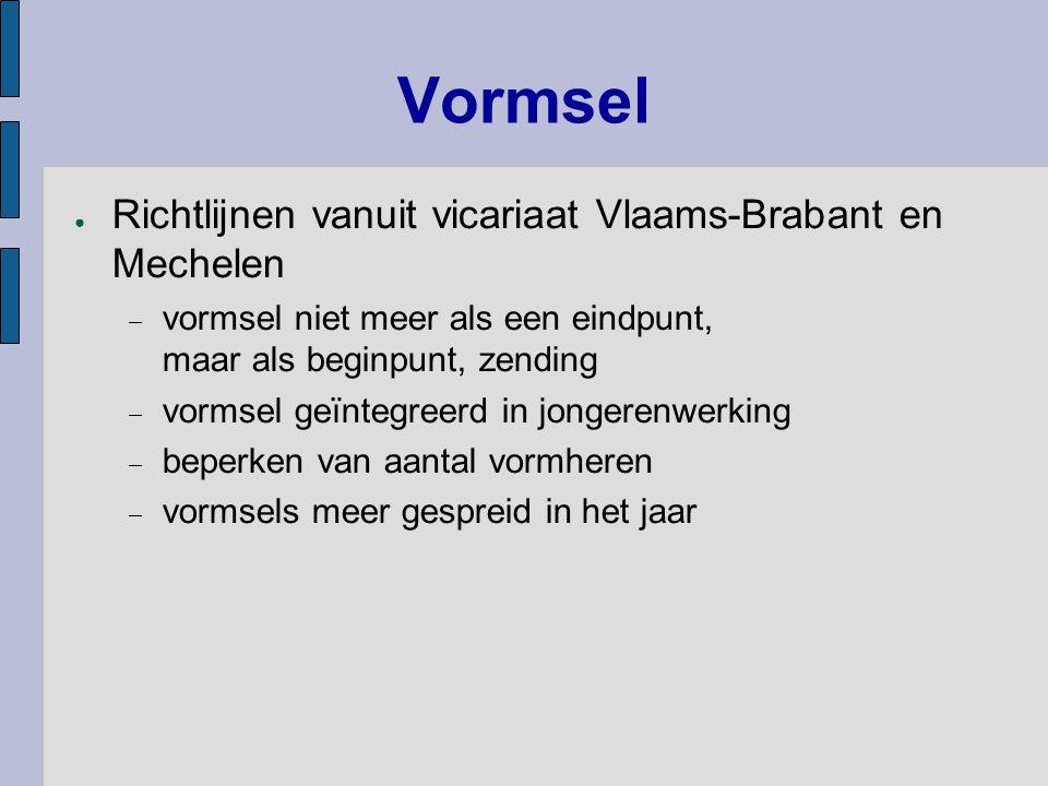 Vormsel ● Richtlijnen vanuit vicariaat Vlaams-Brabant en Mechelen  vormsel niet meer als een eindpunt, maar als beginpunt, zending  vormsel geïntegr
