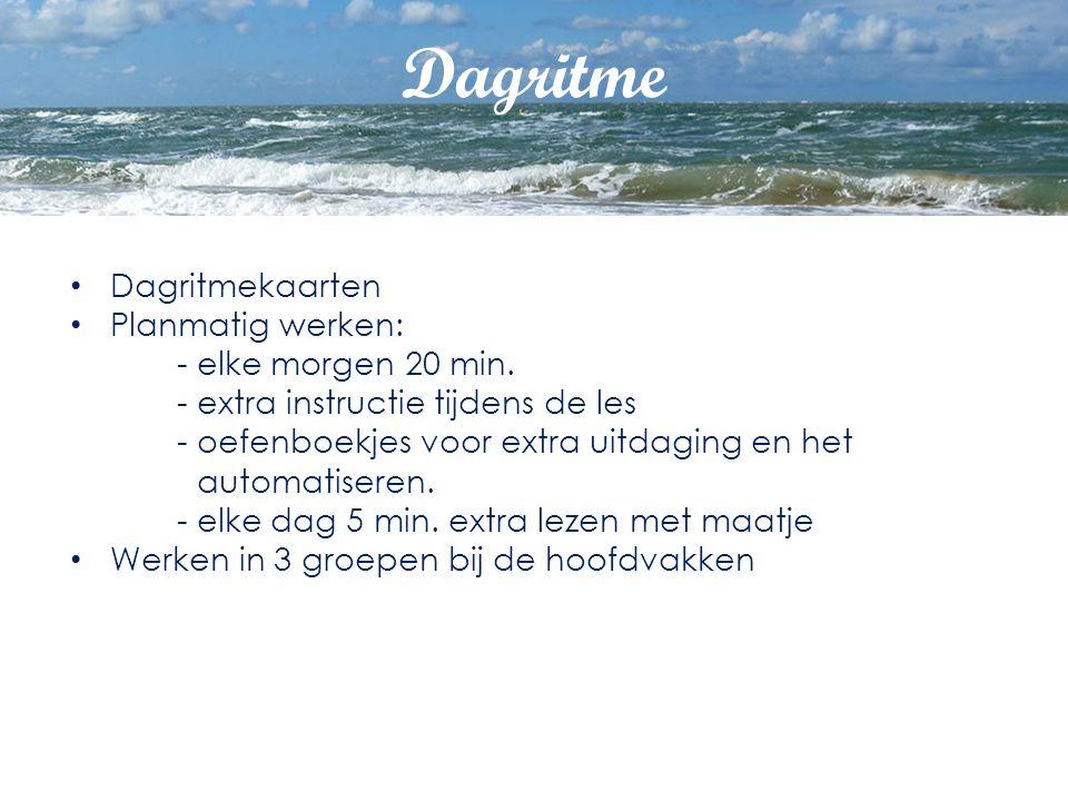 Dagritme Dagritmekaarten Planmatig werken: - elke morgen 20 min. - extra instructie tijdens de les - oefenboekjes voor extra uitdaging en het automati