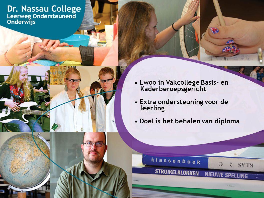 Dr. Nassau College Leerweg Ondersteunend Onderwijs Lwoo in Vakcollege Basis- en Kaderberoepsgericht Extra ondersteuning voor de leerling Doel is het b