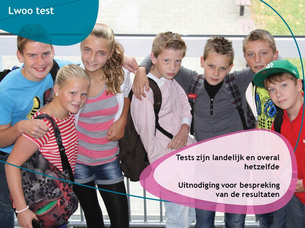 Tests zijn landelijk en overal hetzelfde Uitnodiging voor bespreking van de resultaten Lwoo test