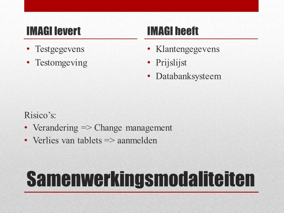 Samenwerkingsmodaliteiten IMAGI levert Testgegevens Testomgeving IMAGI heeft Klantengegevens Prijslijst Databanksysteem Risico's: Verandering => Change management Verlies van tablets => aanmelden