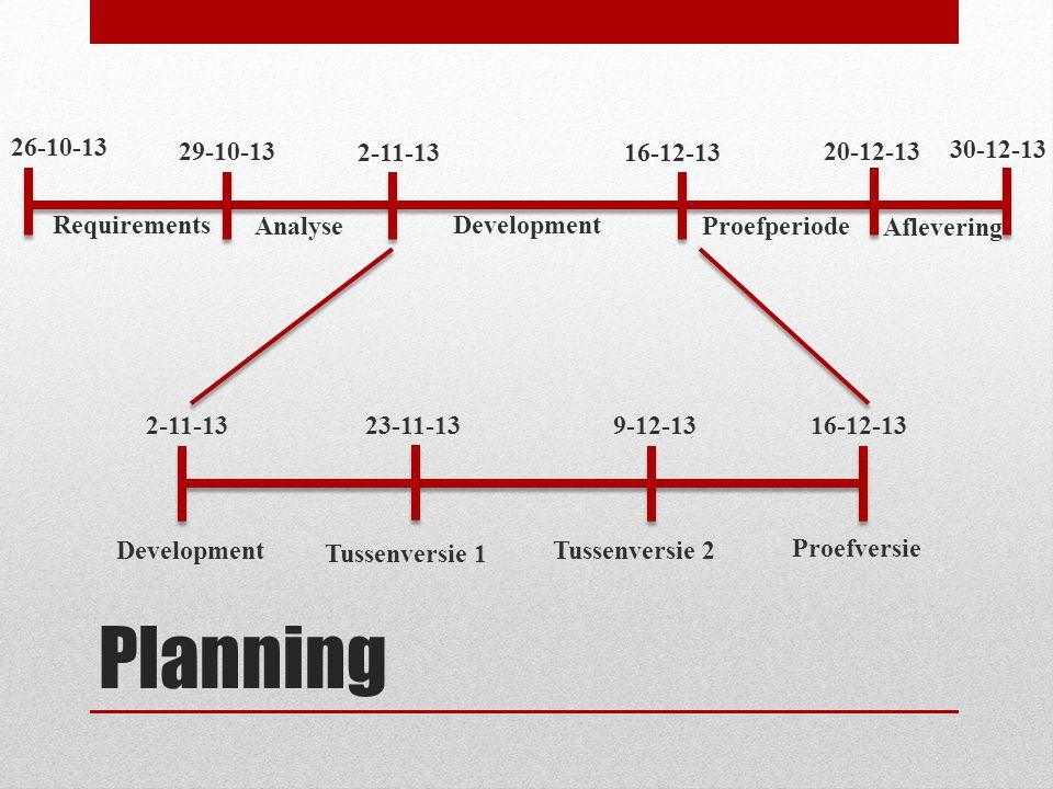 Planning Tussenversie 1 Proefversie Tussenversie 2 Requirements Aflevering AnalyseProefperiode Development 26-10-13 16-12-13 29-10-13 2-11-13 20-12-13 30-12-13 2-11-13 23-11-13 9-12-13 16-12-13 Development