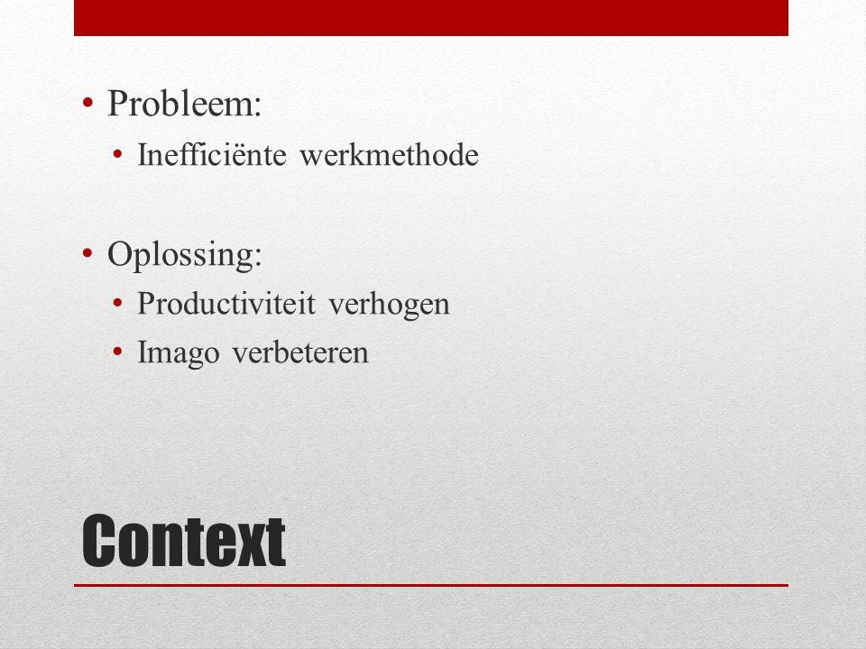 Context Probleem: Inefficiënte werkmethode Oplossing: Productiviteit verhogen Imago verbeteren