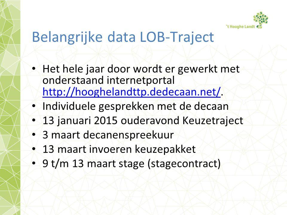 Belangrijke data LOB-Traject Het hele jaar door wordt er gewerkt met onderstaand internetportal http://hooghelandttp.dedecaan.net/.