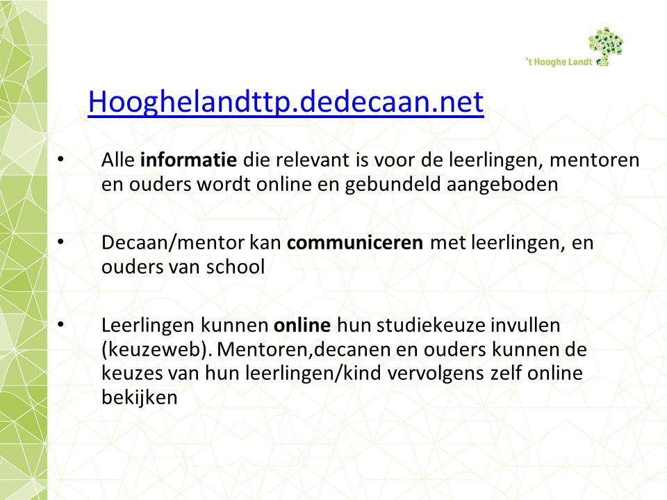 Hooghelandttp.dedecaan.net Alle informatie die relevant is voor de leerlingen, mentoren en ouders wordt online en gebundeld aangeboden Decaan/mentor kan communiceren met leerlingen, en ouders van school Leerlingen kunnen online hun studiekeuze invullen (keuzeweb).