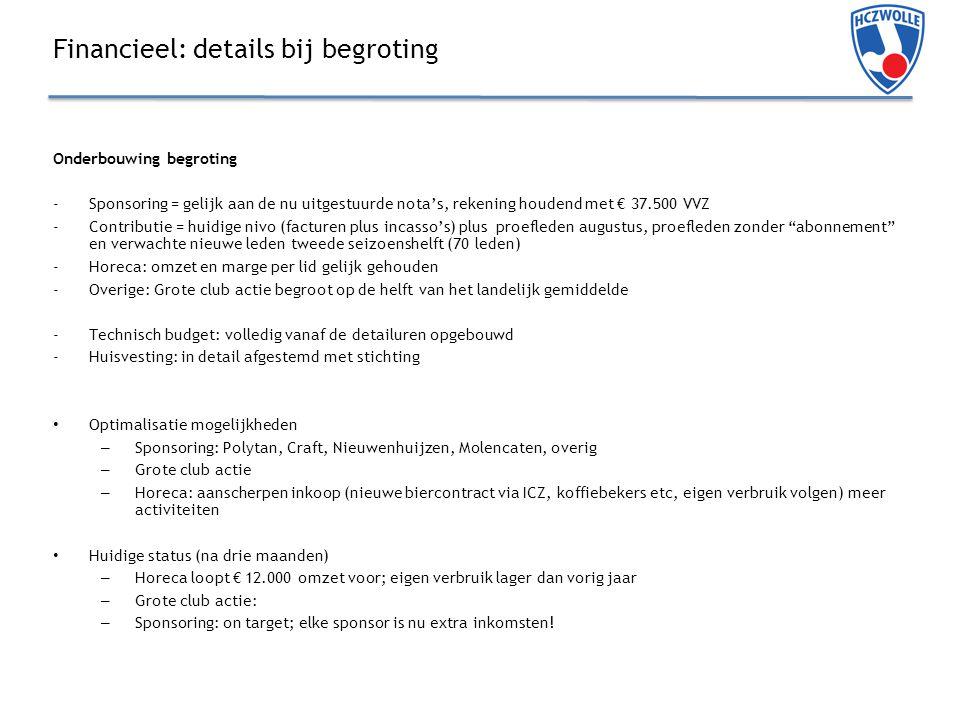 Financieel: details bij begroting Onderbouwing begroting -Sponsoring = gelijk aan de nu uitgestuurde nota's, rekening houdend met € 37.500 VVZ -Contributie = huidige nivo (facturen plus incasso's) plus proefleden augustus, proefleden zonder abonnement en verwachte nieuwe leden tweede seizoenshelft (70 leden) -Horeca: omzet en marge per lid gelijk gehouden -Overige: Grote club actie begroot op de helft van het landelijk gemiddelde -Technisch budget: volledig vanaf de detailuren opgebouwd -Huisvesting: in detail afgestemd met stichting Optimalisatie mogelijkheden – Sponsoring: Polytan, Craft, Nieuwenhuijzen, Molencaten, overig – Grote club actie – Horeca: aanscherpen inkoop (nieuwe biercontract via ICZ, koffiebekers etc, eigen verbruik volgen) meer activiteiten Huidige status (na drie maanden) – Horeca loopt € 12.000 omzet voor; eigen verbruik lager dan vorig jaar – Grote club actie: – Sponsoring: on target; elke sponsor is nu extra inkomsten!