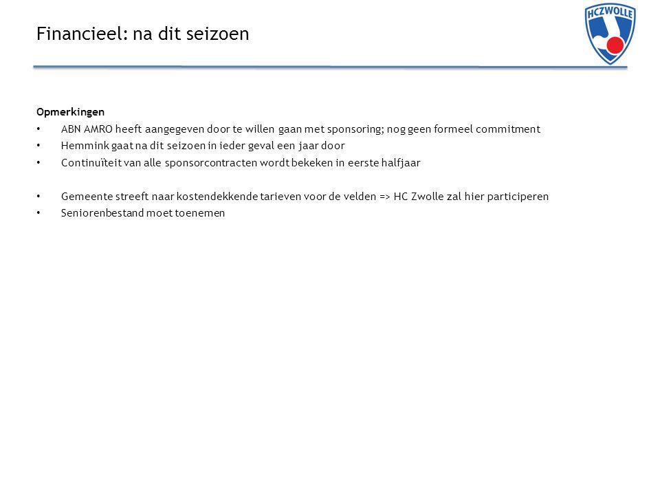Financieel: na dit seizoen Opmerkingen ABN AMRO heeft aangegeven door te willen gaan met sponsoring; nog geen formeel commitment Hemmink gaat na dit seizoen in ieder geval een jaar door Continuïteit van alle sponsorcontracten wordt bekeken in eerste halfjaar Gemeente streeft naar kostendekkende tarieven voor de velden => HC Zwolle zal hier participeren Seniorenbestand moet toenemen