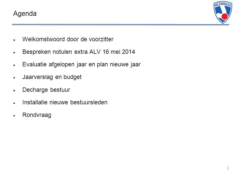 Agenda 2  Welkomstwoord door de voorzitter  Bespreken notulen extra ALV 16 mei 2014  Evaluatie afgelopen jaar en plan nieuwe jaar  Jaarverslag en