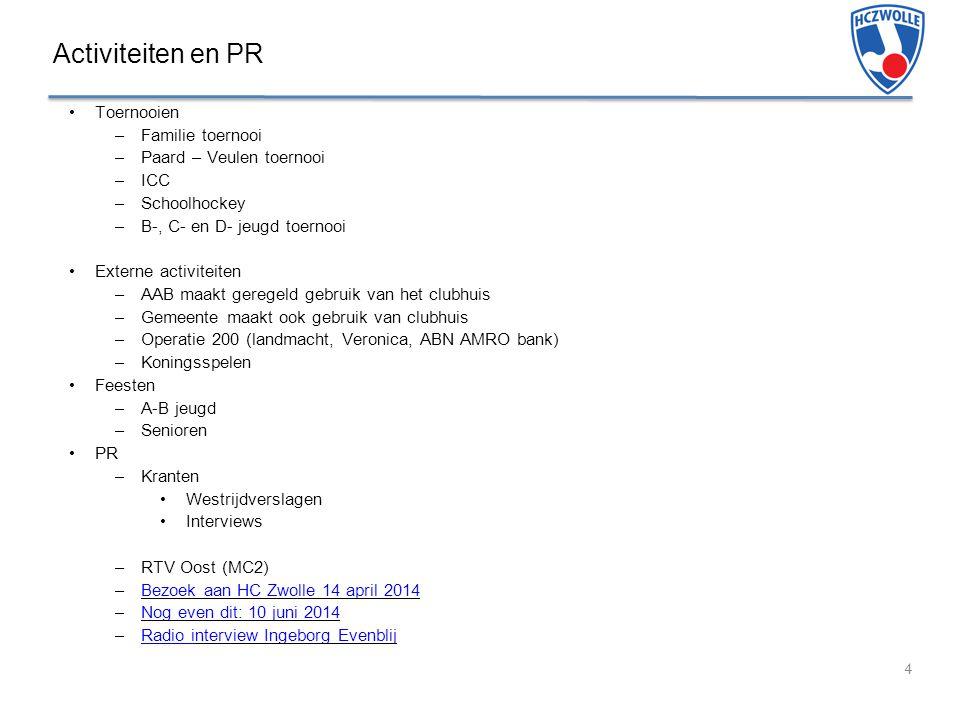 Activiteiten en PR Toernooien –Familie toernooi –Paard – Veulen toernooi –ICC –Schoolhockey –B-, C- en D- jeugd toernooi Externe activiteiten –AAB maakt geregeld gebruik van het clubhuis –Gemeente maakt ook gebruik van clubhuis –Operatie 200 (landmacht, Veronica, ABN AMRO bank) –Koningsspelen Feesten –A-B jeugd –Senioren PR –Kranten Westrijdverslagen Interviews –RTV Oost (MC2) –Bezoek aan HC Zwolle 14 april 2014Bezoek aan HC Zwolle 14 april 2014 –Nog even dit: 10 juni 2014Nog even dit: 10 juni 2014 –Radio interview Ingeborg EvenblijRadio interview Ingeborg Evenblij 4