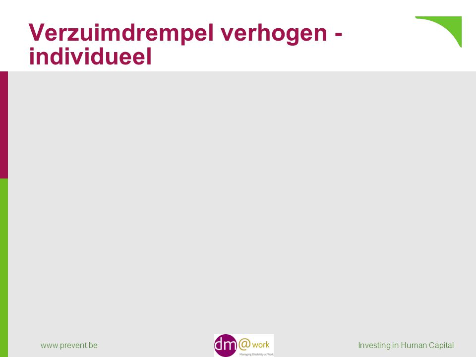 Verzuimdrempel verhogen - individueel www.prevent.be Investing in Human Capital
