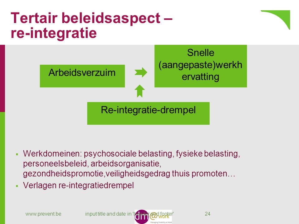 Tertair beleidsaspect – re-integratie www.prevent.beinput title and date in 'header and footer' 24 Arbeidsverzuim Snelle (aangepaste)werkh ervatting R