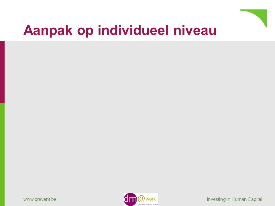 Aanpak op individueel niveau www.prevent.be Investing in Human Capital