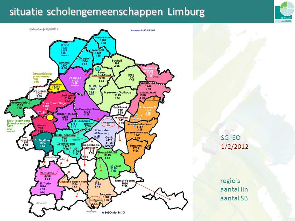 situatie scholengemeenschappen Limburg SG SO 1/2/2012 regio ' s aantal lln aantal SB