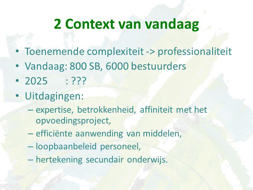 2 Context van vandaag Toenemende complexiteit -> professionaliteit Vandaag: 800 SB, 6000 bestuurders 2025 : ??.