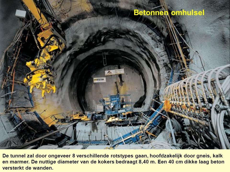 Betonnen omhulsel De tunnel zal door ongeveer 8 verschillende rotstypes gaan, hoofdzakelijk door gneis, kalk en marmer. De nuttige diameter van de kok