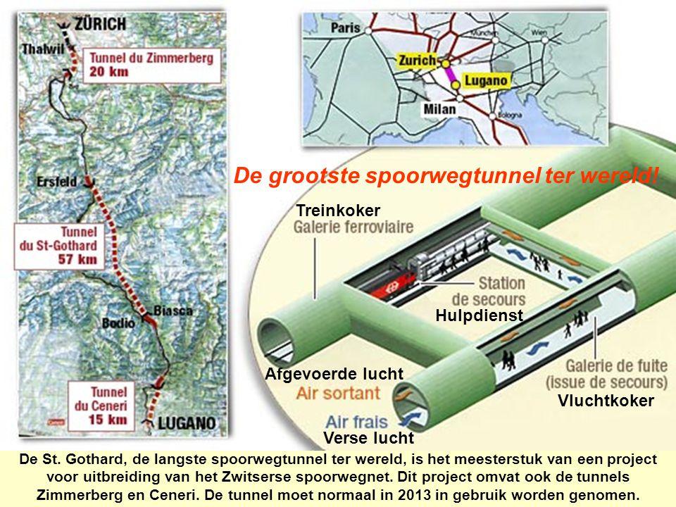 De grootste spoorwegtunnel ter wereld! De St. Gothard, de langste spoorwegtunnel ter wereld, is het meesterstuk van een project voor uitbreiding van h