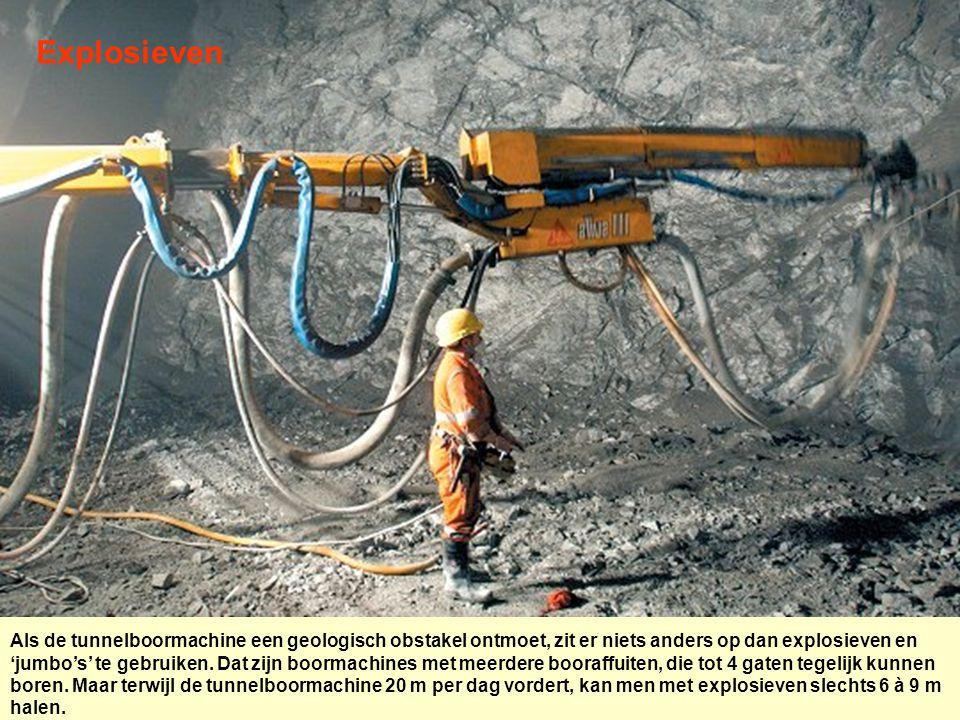 Explosieven Als de tunnelboormachine een geologisch obstakel ontmoet, zit er niets anders op dan explosieven en 'jumbo's' te gebruiken. Dat zijn boorm