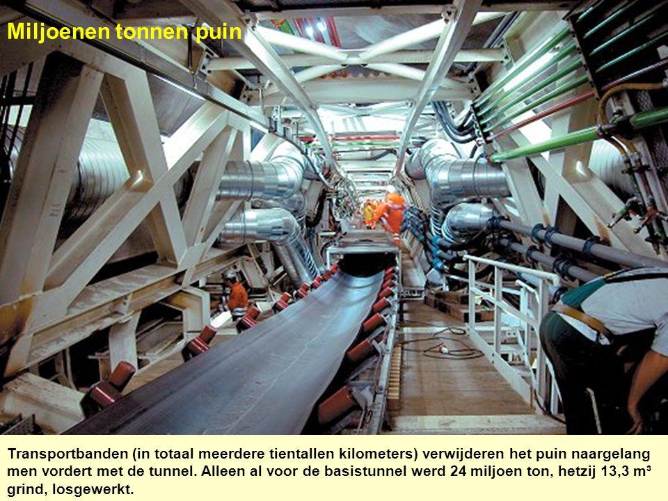 Miljoenen tonnen puin Transportbanden (in totaal meerdere tientallen kilometers) verwijderen het puin naargelang men vordert met de tunnel. Alleen al