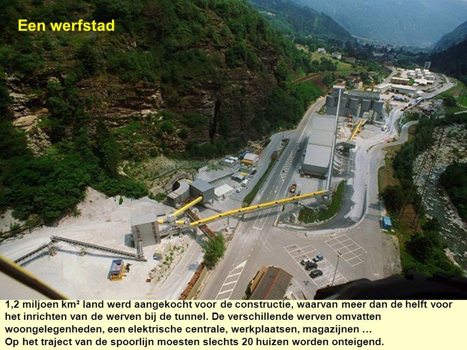Een werfstad 1,2 miljoen km² land werd aangekocht voor de constructie, waarvan meer dan de helft voor het inrichten van de werven bij de tunnel. De ve