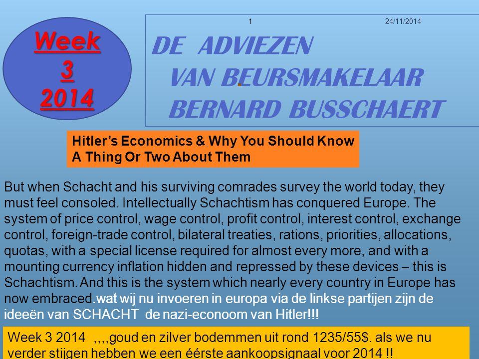 24/11/20141 DE ADVIEZEN VAN BEURSMAKELAAR BERNARD BUSSCHAERT Week 3 2014 Week 3 2014,,,,goud en zilver bodemmen uit rond 1235/55$.