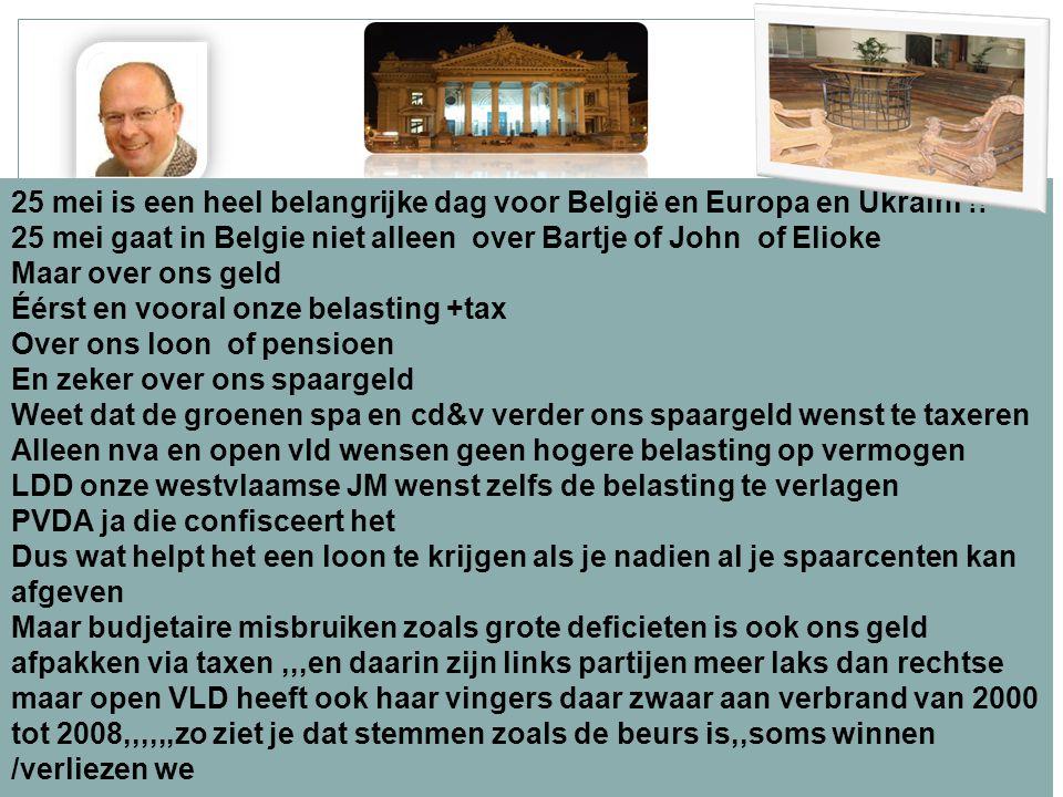 24/11/2014 2 25 mei is een heel belangrijke dag voor België en Europa en Ukraini !! 25 mei gaat in Belgie niet alleen over Bartje of John of Elioke Ma