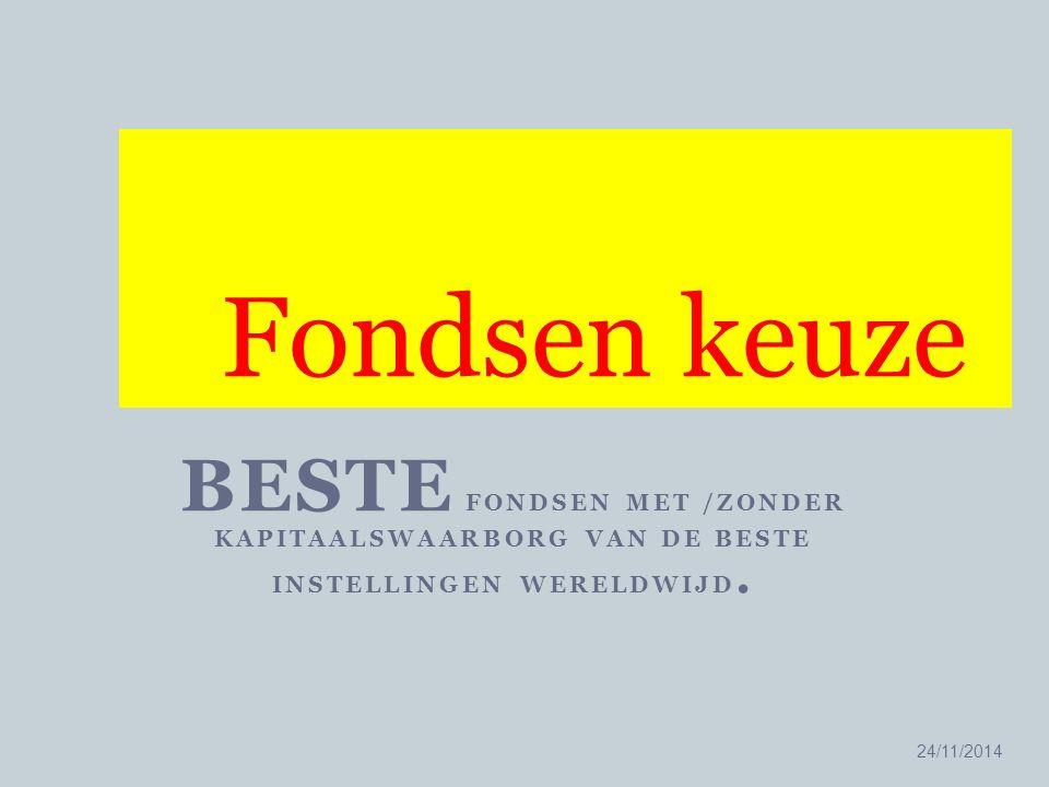 BESTE FONDSEN MET /ZONDER KAPITAALSWAARBORG VAN DE BESTE INSTELLINGEN WERELDWIJD. 24/11/2014 21 Fondsen keuze