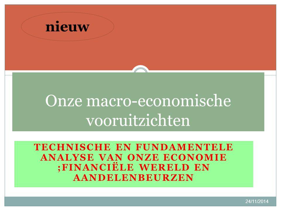 TECHNISCHE EN FUNDAMENTELE ANALYSE VAN ONZE ECONOMIE ;FINANCIËLE WERELD EN AANDELENBEURZEN 24/11/2014 4 Onze macro-economische vooruitzichten nieuw