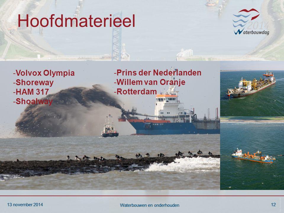 13 november 201412 Waterbouwen en onderhouden 13 november 201412 Waterbouwen en onderhouden 13 november 201412 Waterbouwen en onderhouden Hoofdmaterieel -Volvox Olympia -Shoreway -HAM 317 -Shoalway -Prins der Nederlanden -Willem van Oranje -Rotterdam