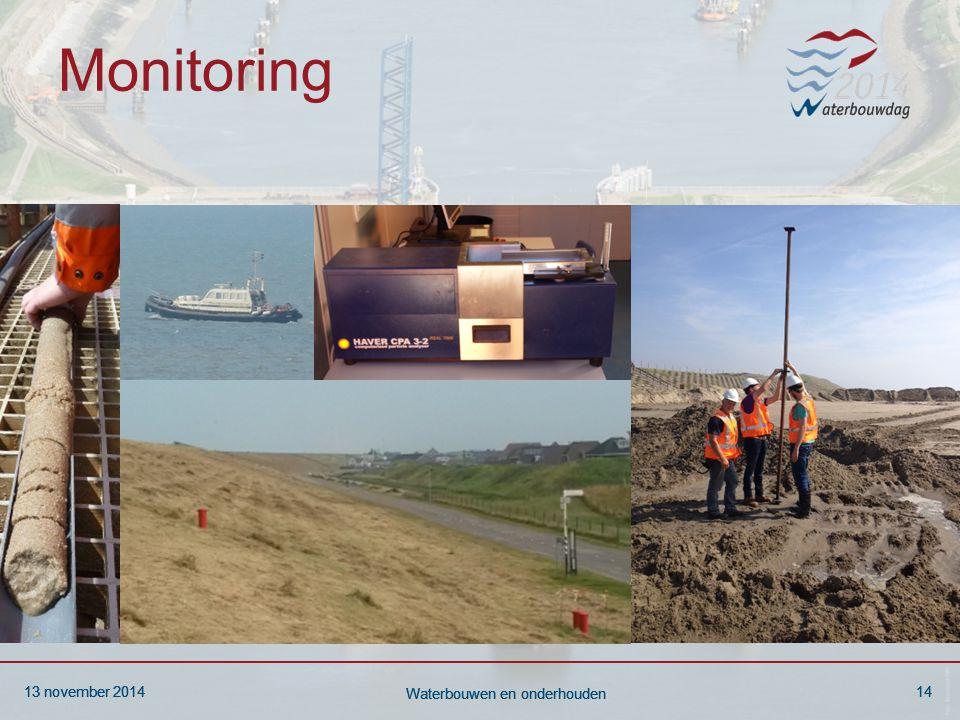 13 november 201414 Waterbouwen en onderhouden 13 november 201414 Waterbouwen en onderhouden 13 november 201414 Waterbouwen en onderhouden Monitoring