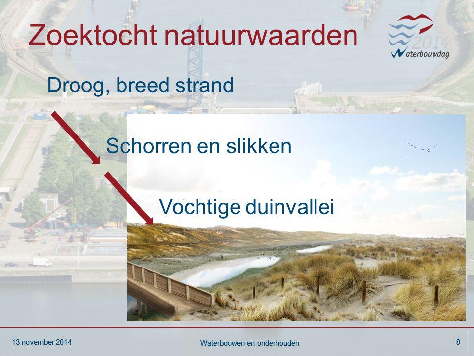 13 november 20148 Waterbouwen en onderhouden 13 november 20148 Waterbouwen en onderhouden 13 november 20148 Waterbouwen en onderhouden Zoektocht natuurwaarden Droog, breed strand Schorren en slikken Vochtige duinvallei