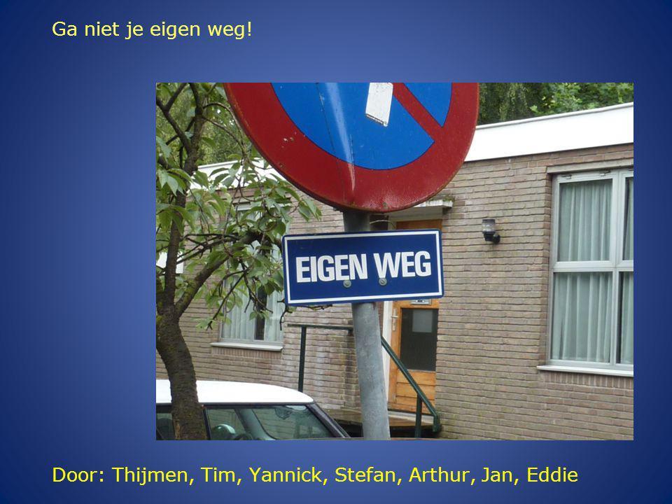 Door: Thijmen, Tim, Yannick, Stefan, Arthur, Jan, Eddie Ga niet je eigen weg!