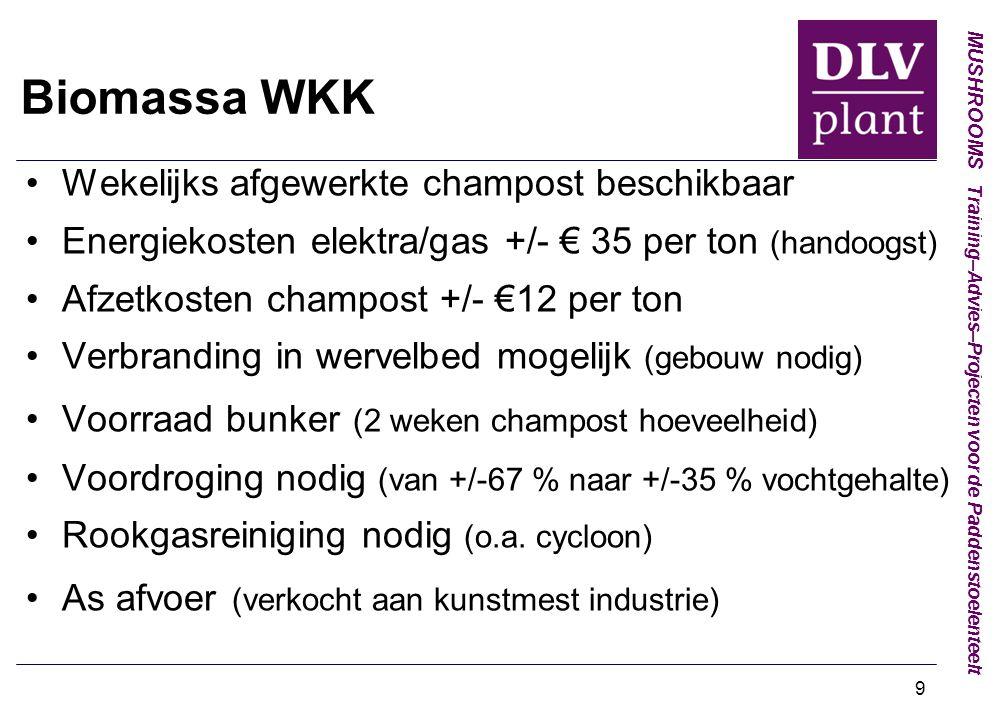 MUSHROOMS Training–Advies–Projecten voor de Paddenstoelenteelt 9 Biomassa WKK Wekelijks afgewerkte champost beschikbaar Energiekosten elektra/gas +/- € 35 per ton (handoogst) Afzetkosten champost +/- €12 per ton Verbranding in wervelbed mogelijk (gebouw nodig) Voorraad bunker (2 weken champost hoeveelheid) Voordroging nodig (van +/-67 % naar +/-35 % vochtgehalte) Rookgasreiniging nodig (o.a.
