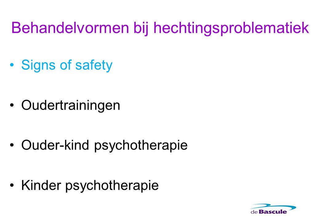 Behandelvormen bij hechtingsproblematiek Signs of safety Oudertrainingen Ouder-kind psychotherapie Kinder psychotherapie