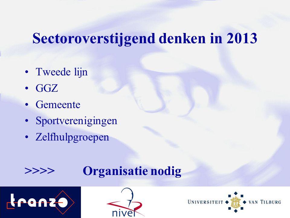 Sectoroverstijgend denken in 2013 Tweede lijn GGZ Gemeente Sportverenigingen Zelfhulpgroepen >>>>Organisatie nodig