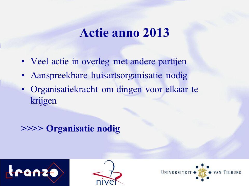 Actie anno 2013 Veel actie in overleg met andere partijen Aanspreekbare huisartsorganisatie nodig Organisatiekracht om dingen voor elkaar te krijgen >