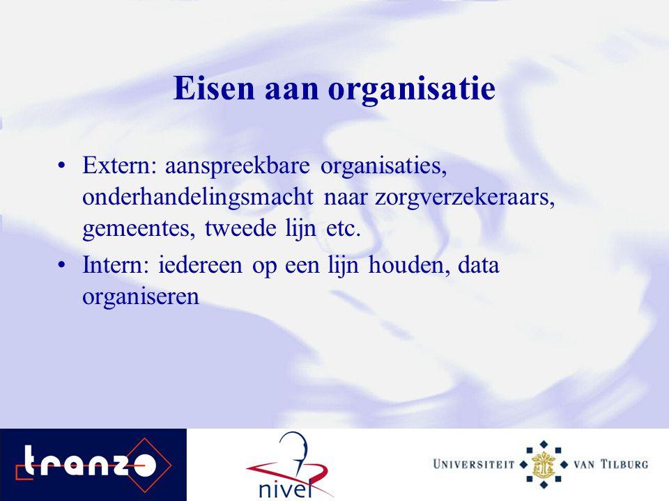 Eisen aan organisatie Extern: aanspreekbare organisaties, onderhandelingsmacht naar zorgverzekeraars, gemeentes, tweede lijn etc. Intern: iedereen op