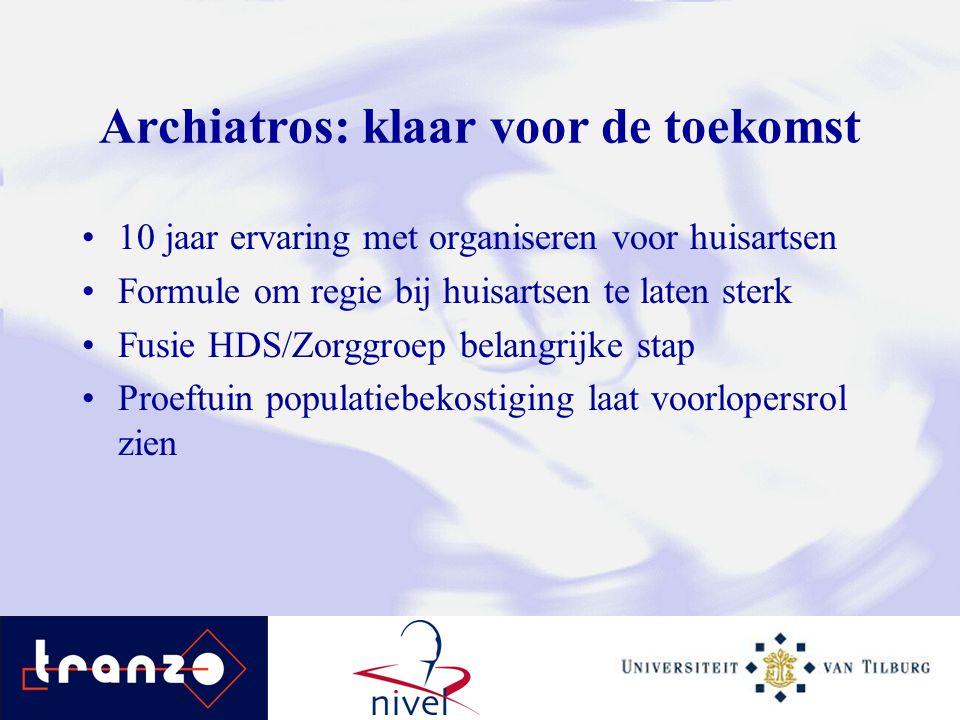 Archiatros: klaar voor de toekomst 10 jaar ervaring met organiseren voor huisartsen Formule om regie bij huisartsen te laten sterk Fusie HDS/Zorggroep