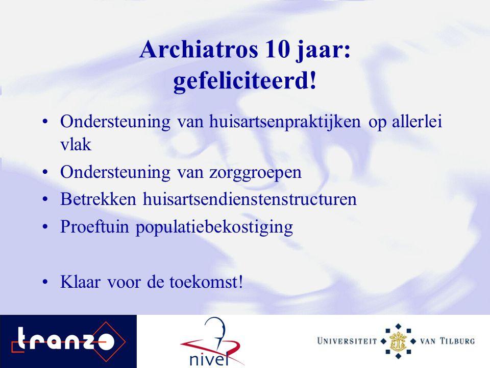 Archiatros 10 jaar: gefeliciteerd! Ondersteuning van huisartsenpraktijken op allerlei vlak Ondersteuning van zorggroepen Betrekken huisartsendienstens
