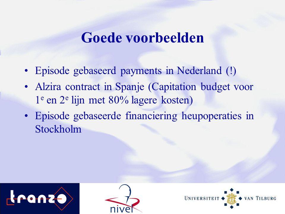 Goede voorbeelden Episode gebaseerd payments in Nederland (!) Alzira contract in Spanje (Capitation budget voor 1 e en 2 e lijn met 80% lagere kosten)