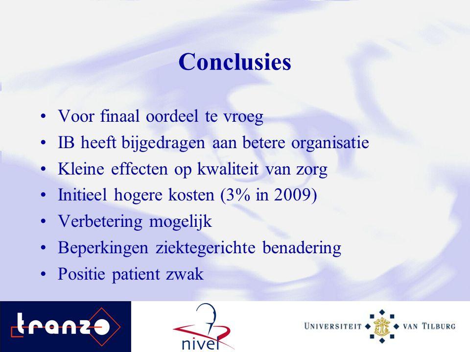 Conclusies Voor finaal oordeel te vroeg IB heeft bijgedragen aan betere organisatie Kleine effecten op kwaliteit van zorg Initieel hogere kosten (3% i