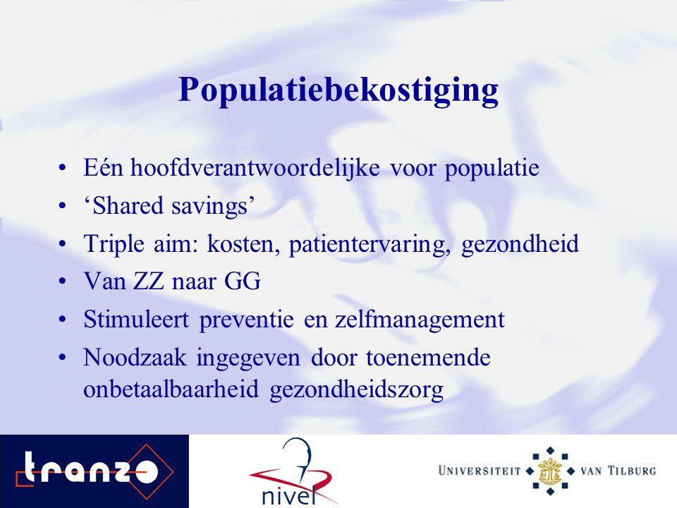Populatiebekostiging Eén hoofdverantwoordelijke voor populatie 'Shared savings' Triple aim: kosten, patientervaring, gezondheid Van ZZ naar GG Stimule