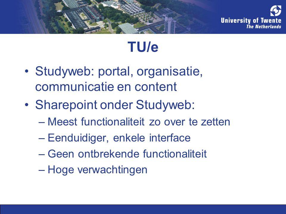 TU/e Studyweb: portal, organisatie, communicatie en content Sharepoint onder Studyweb: –Meest functionaliteit zo over te zetten –Eenduidiger, enkele interface –Geen ontbrekende functionaliteit –Hoge verwachtingen