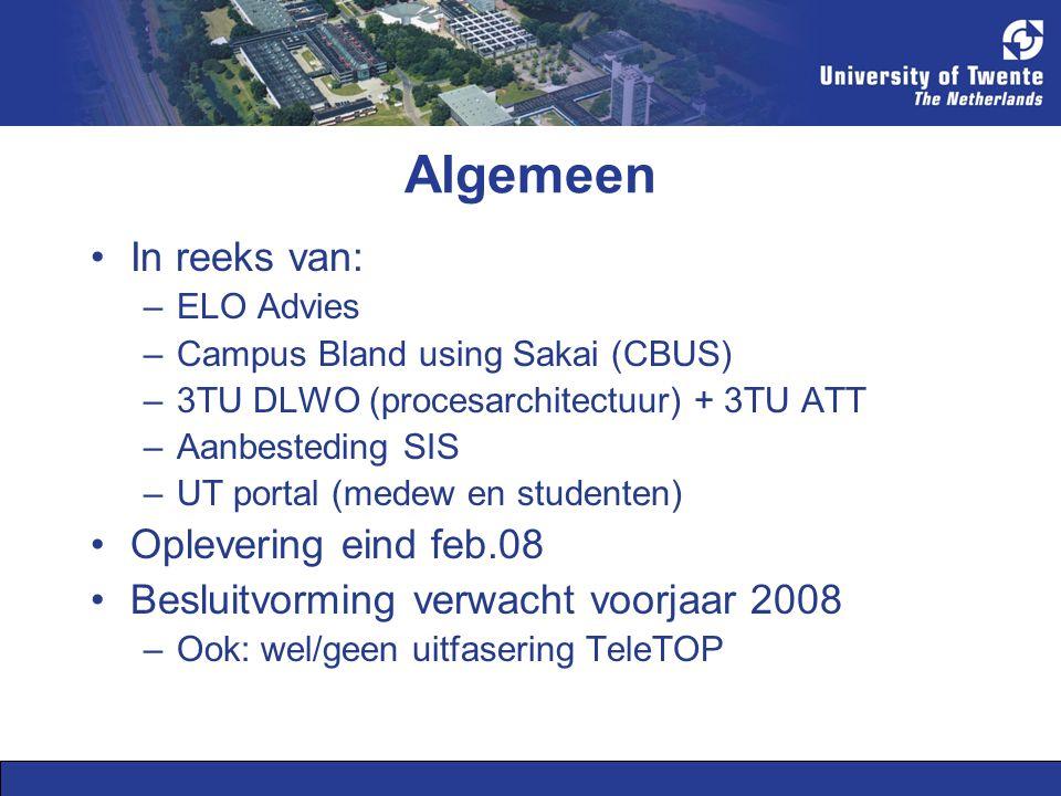 Globale opzet Eigen onderzoek door projectteam (owk en technisch) Globale inventarisatie status SP via ICT directies HO Planning en uitvoering werkbezoeken: –UT delegatie heterogeen samengesteld –INHOLLAND, WUR, HAN, TU/e –SLO Pilot bij GW